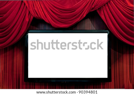 Large red curtain/Red Velvet Theater curtains/Empty tv set. screen is ready for adding a picture
