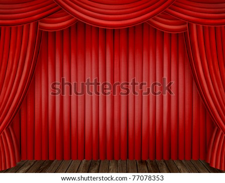Large red curtain stage - stock photo