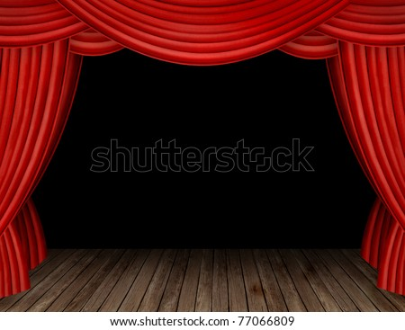 Large red curtain stage opening with black background - stock photo