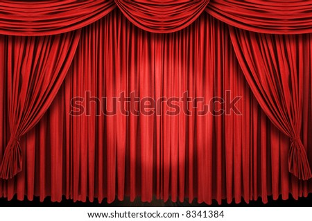 Large red curtain stage with spot light