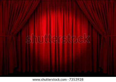 Large red curtain with spotlight - stock photo