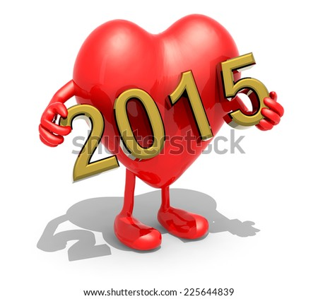 large red Heart with arms, legs and the 3D inscription 2015 - stock photo