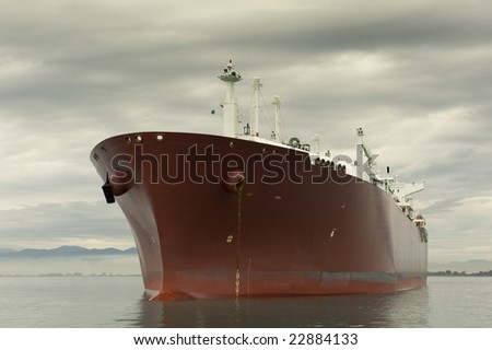 Large red liquefied gas carrier ship anchored near the shore