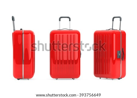 Large Red Polycarbonate Suitcases on a white background - stock photo