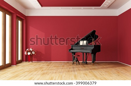 Large red room with black grand piano - 3D Rendering - stock photo