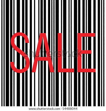 Large Red Sale text Barcode Background Macro Closeup, Isolated On White - stock photo