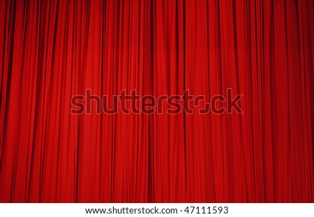 Large red stage curtain - stock photo