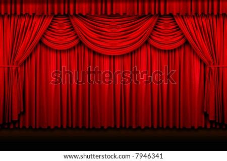 Large red stage curtains over wooden floor - stock photo