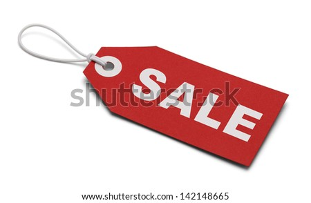 Large Red Tag With the Word Sale Isolated on White Background. - stock photo