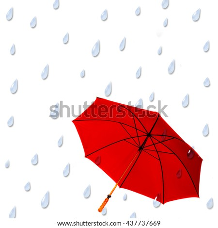Large Red Umbrella with raindrops coming down around it.  Graphic illustration background.