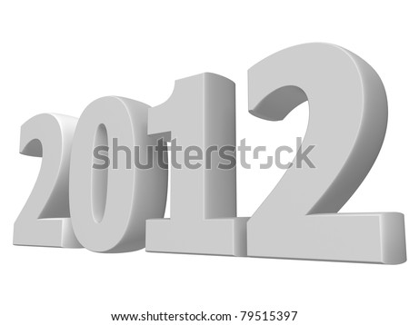 Large render of white 2012 text - stock photo