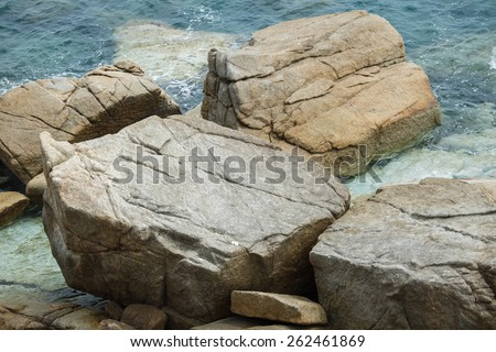 Large rocks in the forest - stock photo