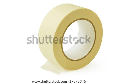 Large roll of masking or duct tape, isolated on white. - stock photo