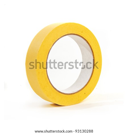 Large roll of masking or duct tape over a white background - stock photo