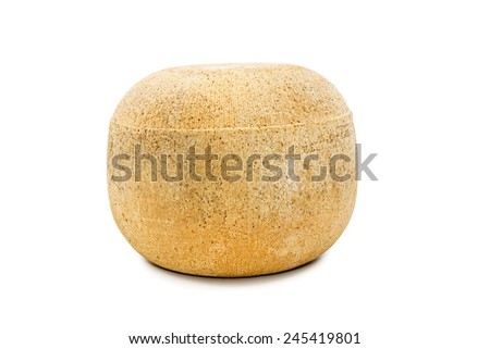 Large round yellow cheese is not cut isolated on white background