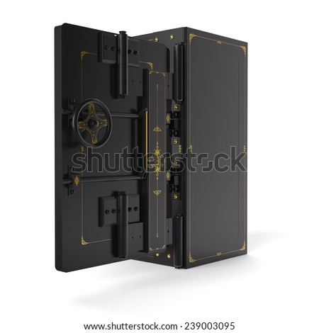 Large safe, opend (done in 3D) - stock photo