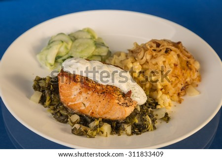 Large Salmon Steak on bed of turnip greens with chopped turnips.  Served with German Spatzle and Cucumber Salad and topped with dill and sour cream. - stock photo