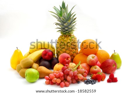 Large selection of a fruit assortment on white background