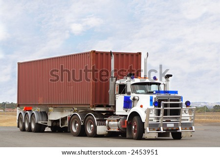 large semi truck with container for load - stock photo