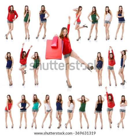 Large set of attractive young posing girl isolated on white background. Collection of full length portrait of beautiful young woman. - stock photo