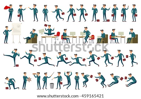Large set of businessman character poses, gestures and actions.