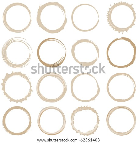 Large set of coffee stains - stock photo