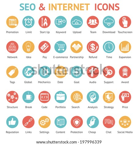 Large set of 40 different SEO and internet icons on colurufl round web buttons each labeled as to its meaning with text below illustration - stock photo