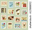 Large set of postage stamps - stock photo