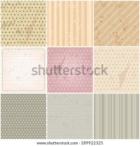 Large set of 9 retro, vintage, abstract hipster backgrounds - stock photo