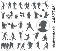 Large set of sport silhouettes - stock photo
