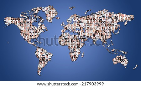 Large set of various business images on world map