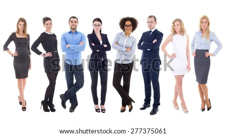large set of young business people isolated on white background - stock photo