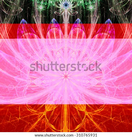 Large sharp flower background with a detailed decorative pattern and stars above it, all in high resolution and bright shining pink,purple,green - stock photo