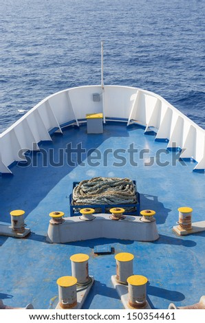 Large ship bow in open sea - stock photo