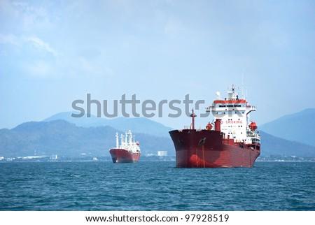 large ship on sea - stock photo