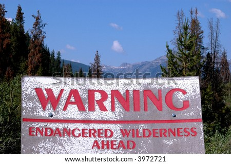 large sign at entry to Holy Cross wilderness area south of Vail, Colorado. - stock photo