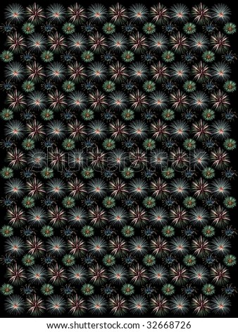 Large Size Firework Pattern - Cool Hue - stock photo