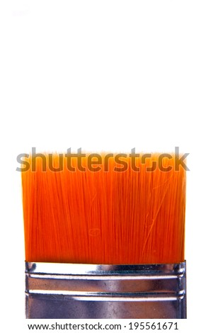 Large Size of Paint Brush Orange Hair, Silver Metal Art and Craft Concept Work Tool isolated on white background. - stock photo