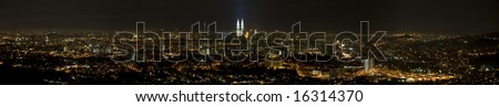 large size panoramic of Kuala Lumpur,Malaysia city view during the night - stock photo