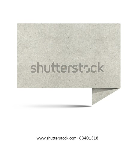 Large size paper talk origami  recycled papercraft on white background - stock photo