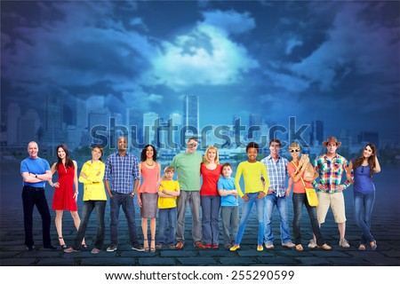 Large smiling People group over urban background. - stock photo