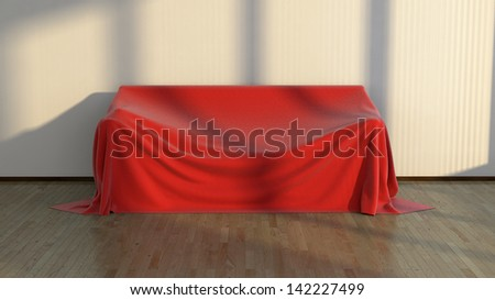large sofa covered with red fabric in abstract interior - stock photo
