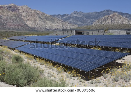Large solar array on US federal parkland. - stock photo