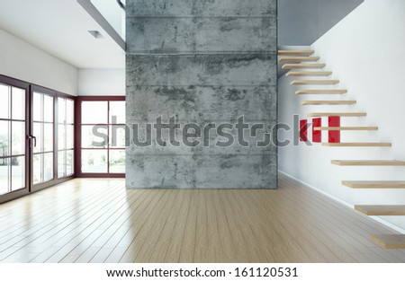 large spacious architectural frame, illuminated by natural light from windows  - stock photo