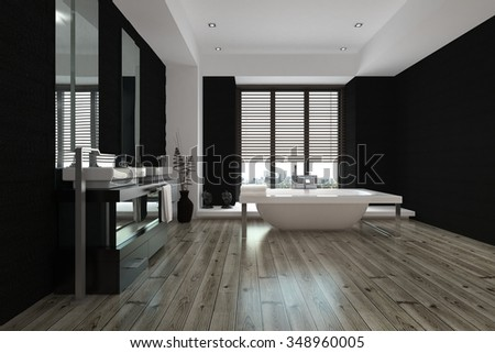 Large spacious black and white bathroom interior with a freestanding bathtub and wall mounted vanities and mirror, view down the length of the parquet floor. 3D Rendering. - stock photo