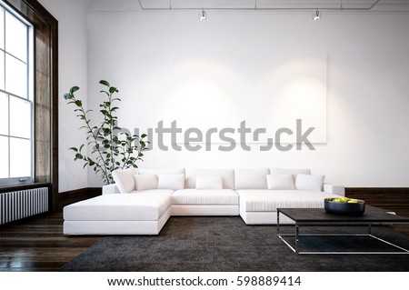 Large Spacious Modern Minimalist Living Room Interior With Cream Sofas And A Window Overhead