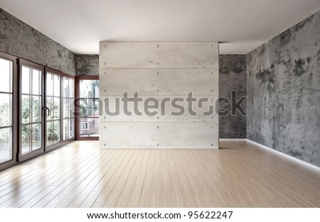 large spacious room, illuminated by natural light from windows - stock photo