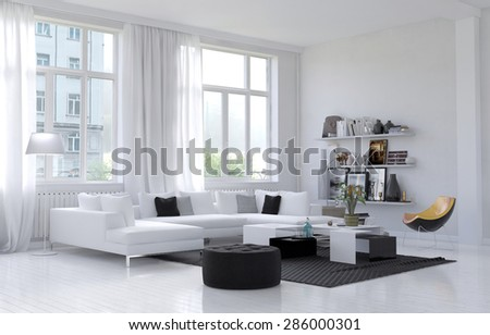 Large spacious white living room interior with large windows and a corner settee and chairs grouped on a rug with shelves of personal ornaments and mementos on the wall. 3d Rendering - stock photo