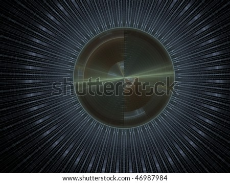 Large sphere-shaped rendering in metallic colors, extremely detailed - stock photo