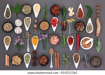 Large spice and herb food sampler forming an abstract background over grey. - stock photo
